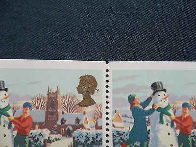 Lx1 Variety Perf Christmas Gb Stamp Booklet Snowman 20 17 Pence Imperf Top Base