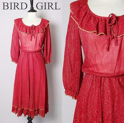Gold Thread Dash 1970S Vintage Deep Red Xmas Party Boho Dress 10-12