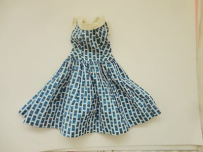 Pretty Vintage Blue Flower Print Doll Dress