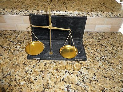 Portable Brass Gold Scale And Weights And Case