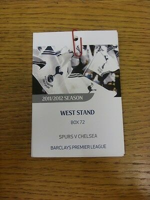 22/12/2011 Ticket: Tottenham Hotspur v Chelsea [West Stand Executive Box Pass] .