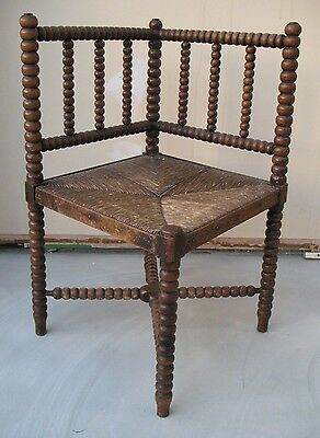 Antique Bobbin Turned Corner Chair Arts And Crafts Rush Seat Decorator Liberty
