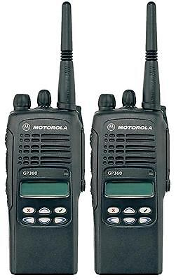 MOTOROLA GP360 VHF 5 WATT TWO WAY WALKIE-TALKIE RADIOS & G-SHAPE EARPIECES x 2