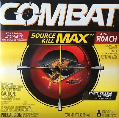 COMBAT Source Kill Max 8 Large Roach Bait Stations - WORLDWIDE SHIPPING!