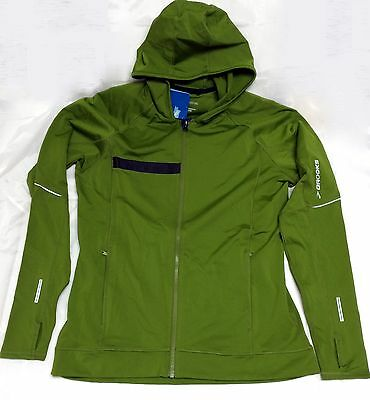 Brooks Men's Utopia Thermal Hooded Jacket - Moss, Med., 50% Off, Free US Ship
