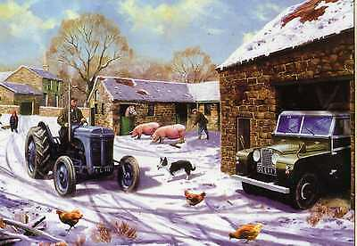 Ferguson Tractor & Land Rover--Christmas Print Card--Kevin Walsh