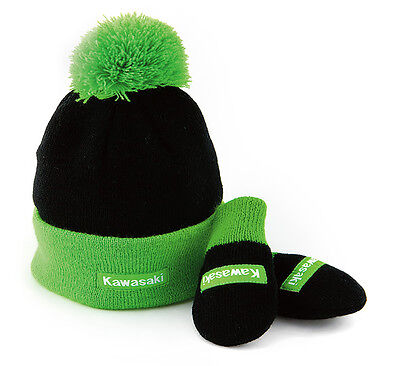 Kawasaki Infant Plushy Beanie & Mittens in Black & Kawasaki Green - Brand New