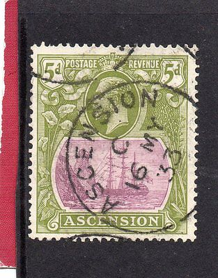 ASCENSION GV 1924-33 5d purple&olive-green sg 15d USED