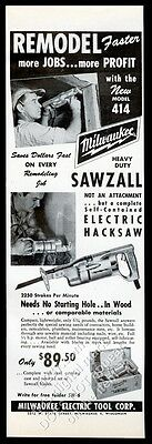 1956 Milwaukee tools Sawzall home construction 2 photo vintage trade print ad