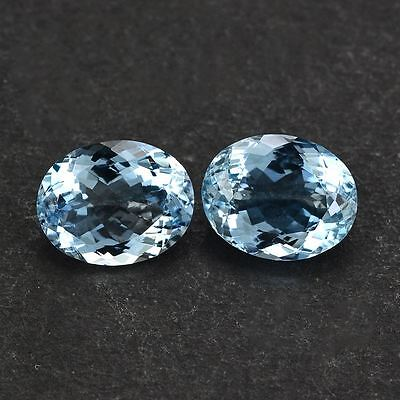 A PAIR OF 4x3mm OVAL-FACET LIGHT-BLUE NATURAL AFRICAN AQUAMARINE GEMS £1 NR!