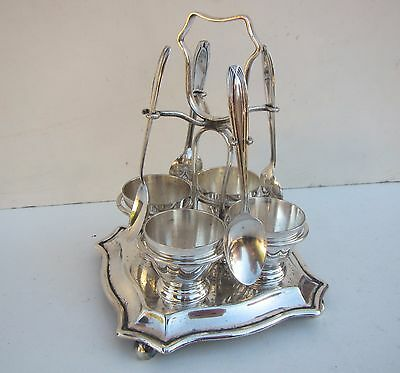Vintage Silver Plated Egg Cups, Spoons & Stand Set