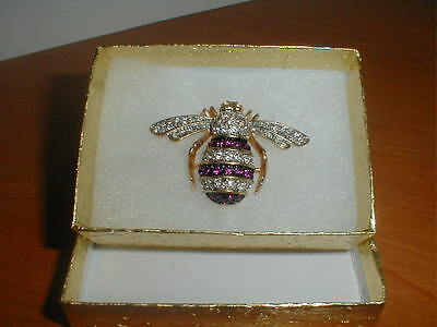Gift Boxed Joan Rivers Style Magenta & Clear Swarovski Crystal Bumble Bee
