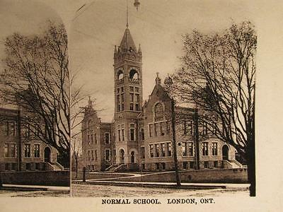 London Ontario Normal School Antique B&W Stereoview Image