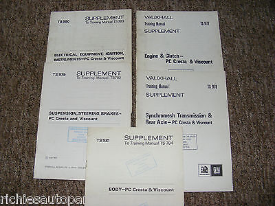 VAUXHALL PC CRESTA & VISCOUNT TRAINING MANUAL SUPPLEMENTS x5 DATED 1971