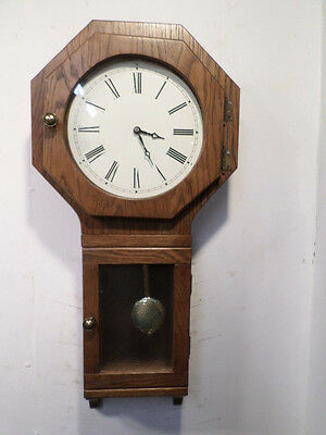 Large Vintage Wall Clock With Octagonal Top Case