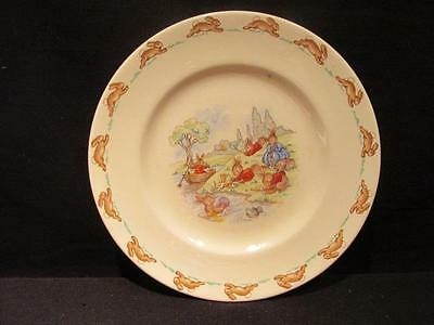 """Bunnykins Royal Doulton Playing on River Mid-Century 7 1/2"""" Plate"""