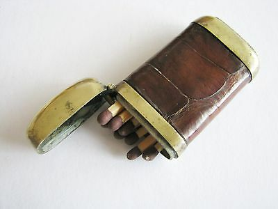 brass and leather vesta case