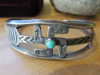 Vintage Native American silver whirling log bracelet w/  turquoise & arrow