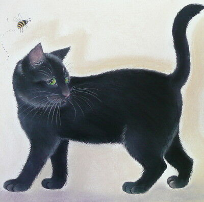 Cats Black Cat Limited edition Print Signed of Original Painting / Sue Barratt