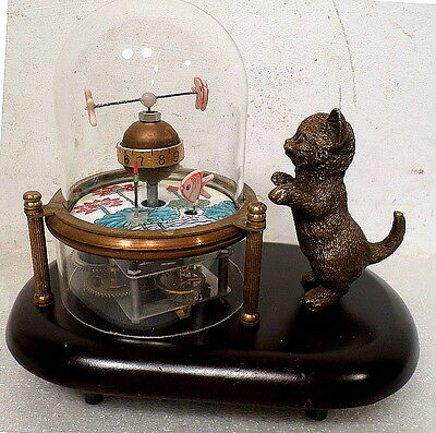 Animated Kitty Cat & Fish Clock With Skeletonized Movement