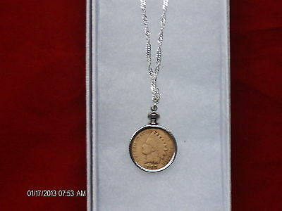 """20""""sterling silver necklace with coin bezel  Real indian head penny"""