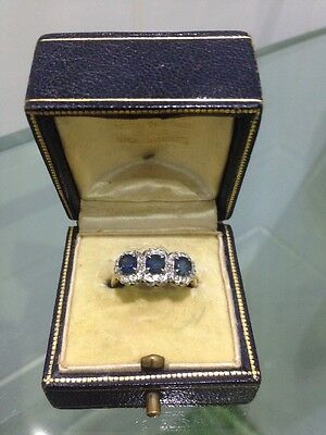 Lovely Antique 18 Ct Gold Sapphire & Diamond Ring