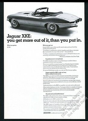 1967 Jaguar XKE XK-E roadster convertible car photo vintage print ad