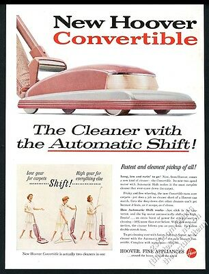 1957 Hoover Convertible pink upright vacuum cleaner photo vintage print ad