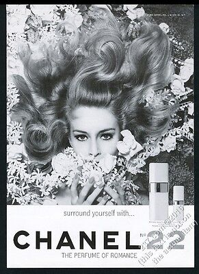 1964 Chanel No.22 perfume cologne woman in flowers photo vintage print ad