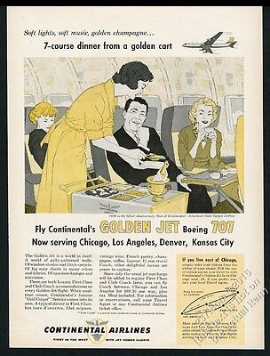 1959 Continental Airlines first class stewardess art vintage print ad