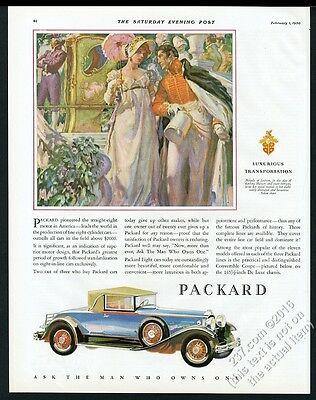 1930 Packard convertible coupe blue car vintage print ad
