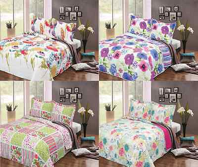 3Pc Embossed Quilted Bedspread Set Bed Spread Pillowcases 240X260Cm Double/king