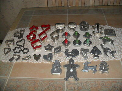 Lot of 38 Vintage Metal Aluminum Cookie Cutters Biscuit Cutters Handles Others