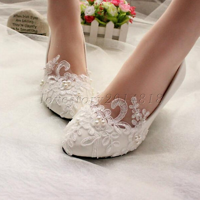 Free shipping Lace white Wedding shoes Bridal flats low high heel pump size 5-10
