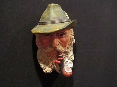 Tyrolean Man with Pipe 1972 Vintage Bosson's Head  Chalkware Congelton England