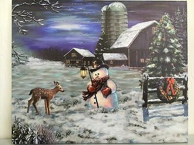 Snowman & Deer with Barn Picture on Canvas w Led Lights Wall Art Christmas Decor
