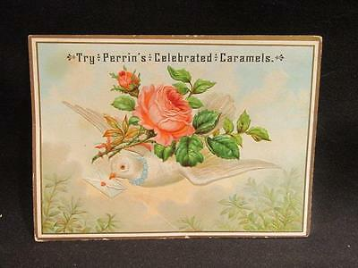 Try Perrin's Celebrated Caramels Die-Cut Victorian Trade Card Dove with Roses