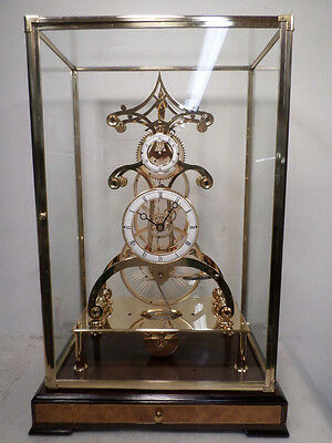 Terrific Etched Glass Gear Fusee Skelton Clock With 24K Finish & Case