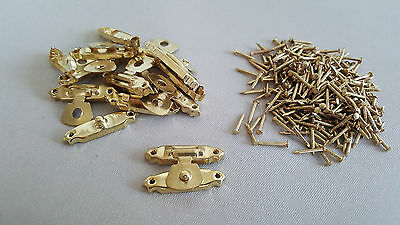 Gold Hasp Locker Chest Lock Craft Hand Made Latch DIY with Free Nail Gift