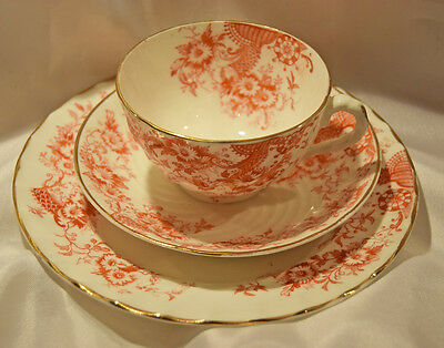 Red Transfer porcelain trio of cup, saucer and plate