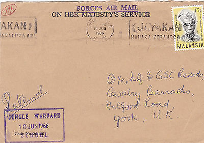 1966 British Forces In Malaysia Cover With A Jungle Warfare School Cachet 23*