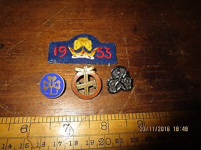 1953 Coronation Girl Guides Patch/ Emsworth Girls Clubs badge / 2 x Guides badge