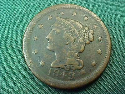 1849 Braided Hair Large Cent !! Scarce Better Date!!