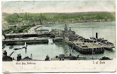 Antique Postcard . Rothesay Harbour . Isle Of Bute . Scotland . P/u 1903