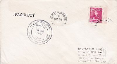 Montserrat 1951 Lady Nelson Posted On The High Seas Paquebot Cover, Canada Stamp