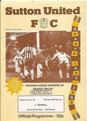 Sutton United v Redhill Surrey Senior Cup 81/82 Mint
