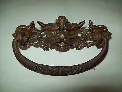 "pair of Antique  brass Gargoyles face drawer pulls  3"" between post"