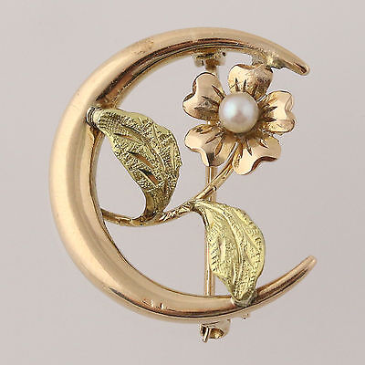 Vintage Crescent Flower Brooch - 10k Yellow & Green Gold Seed Pearl Accented