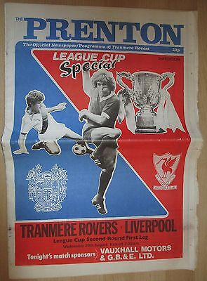 Tranmere Rovers v Liverpool League Cup 79/80