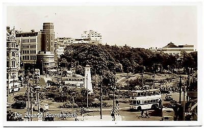 Vintage Real Photo Postcard . The Square Bournemouth . Dorset